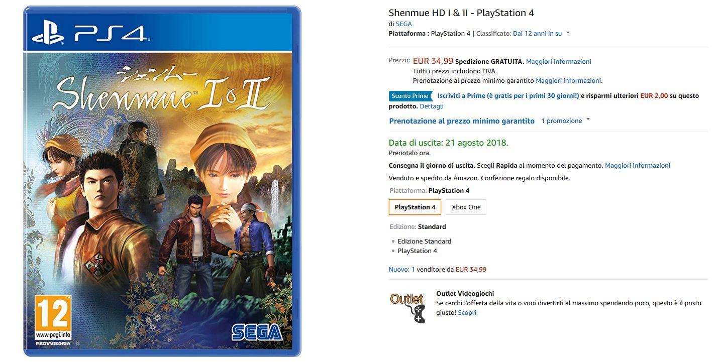 Shenmue 1&2 HD disponibili per il preordine!