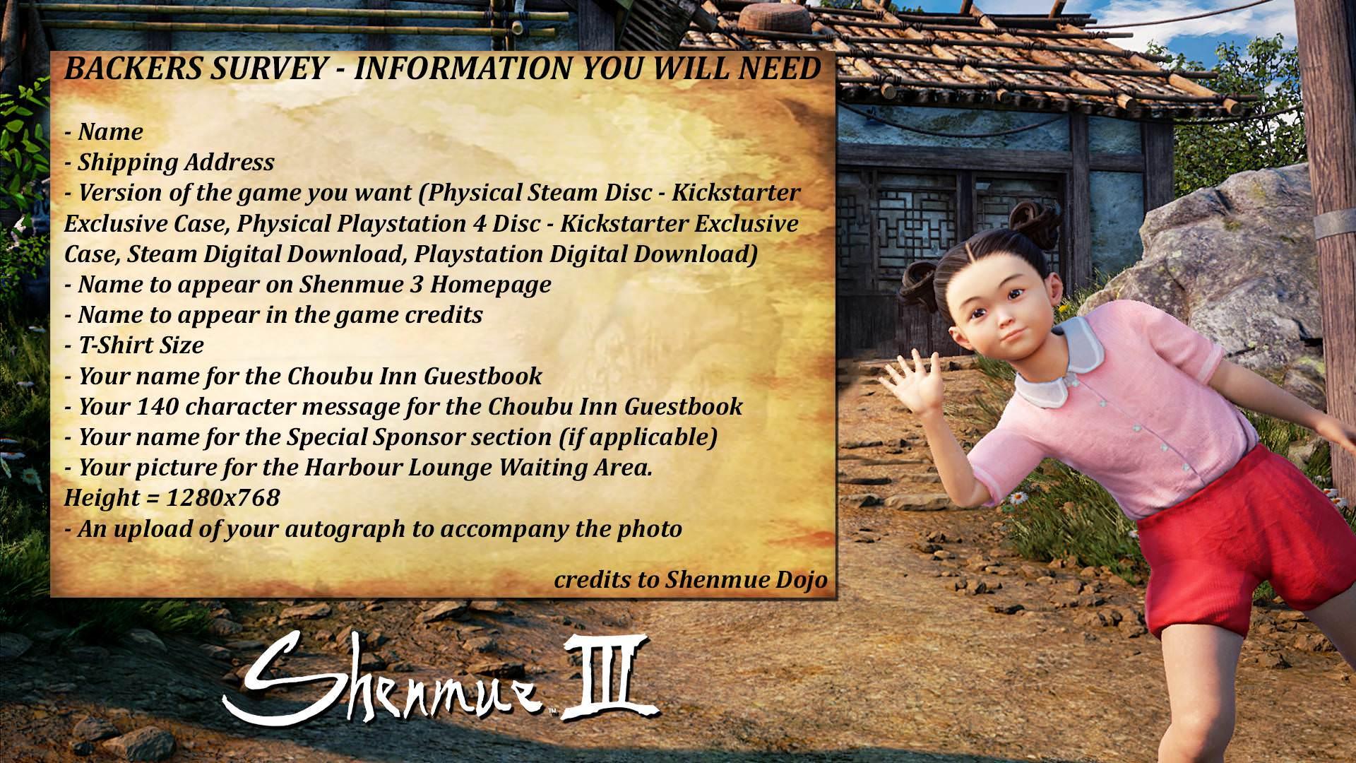 Sondaggio: avete aumentato la vostra quota di finanziamento per Shenmue 3?