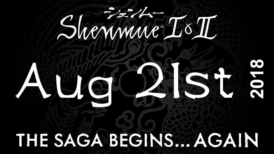 21 Agosto 2018 e' la data di uscita di Shenmue 1&2!