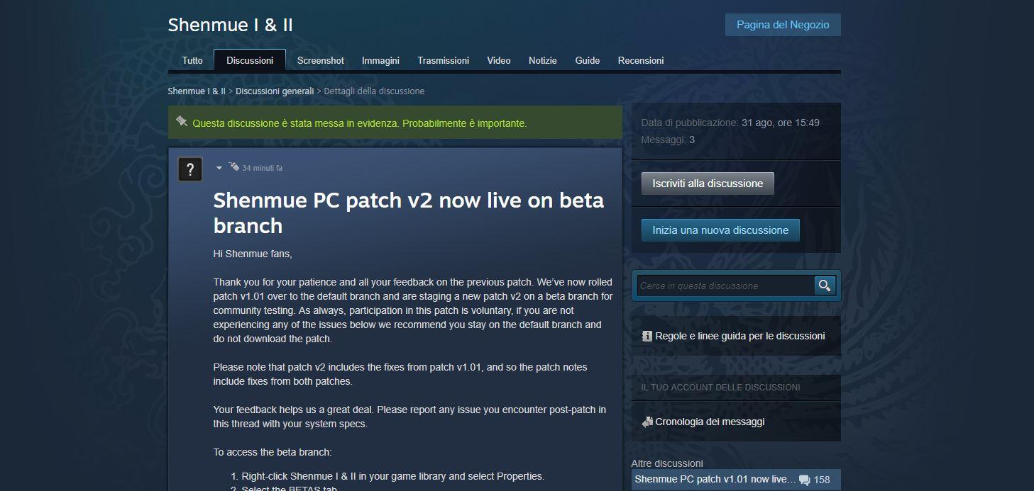 Patch 1.01 disponibilie e v2 in BETA su PC