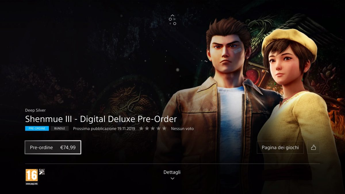 Shenmue 3 Digital Deluxe edition è adesso prenotabile su Playstation Store