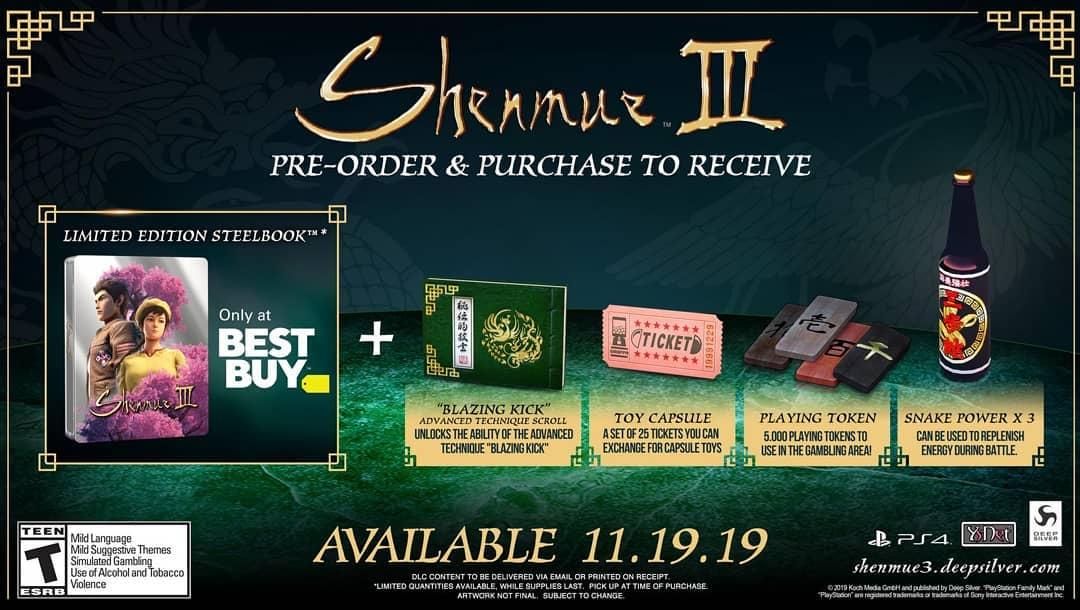 Steelbook ed oggetti esclusivi nei pre-order USA di Shenmue 3